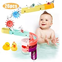 Kids Bath Toys Assemble Set - 26PCS DIY Wall Suction Water Slide Bathtub Toys for Toddlers Boys and Girls 3-6 Years Old