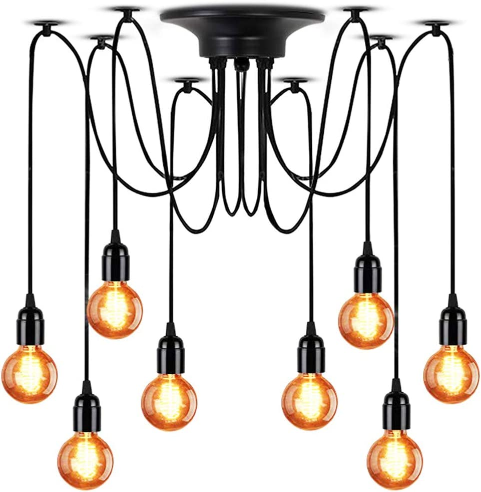 LAMPUNDIT 8-Light Chandelier, Adjustable DIY Ceiling Spider Pendant Lighting, Industrial Hanging Light Fixture Each with 6ft Wire