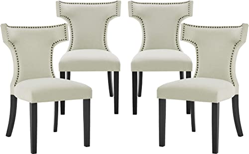 Upholstered Fabric Dining Chair Set of 4 Modern Elegant Dining Room Chairs Classic Parsons Chair Tufted Accent Living Room Chair