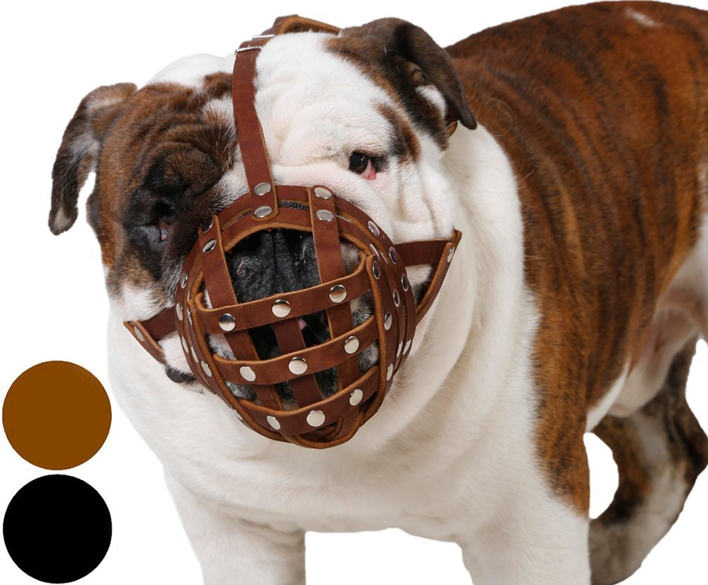 (Brown) Basket Dog Muzzle for Boxer, English Bulldog, American Bulldog Secure Leather Muzzle