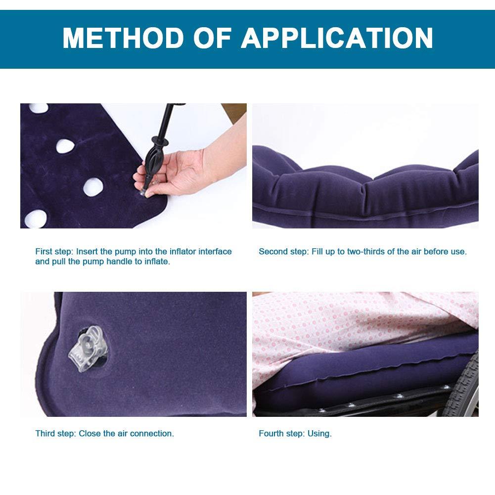 480 Breathable blasendes Coj/ín para sentarse m/ás larga Auto coj/ín de aire cabina Cushion Anti dec/úbito Air Seat Mat con 9 agujeros y PVC Almohada inflable para asiento