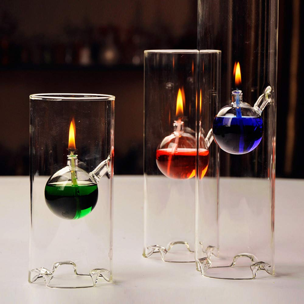 Clear Makeupstore Creative Glass Cylinder Oil Lamp,Fashion Super Beauty Transparent Glass Lotus Bottom Atmosphere Lampstand Characteristics Wedding Gift