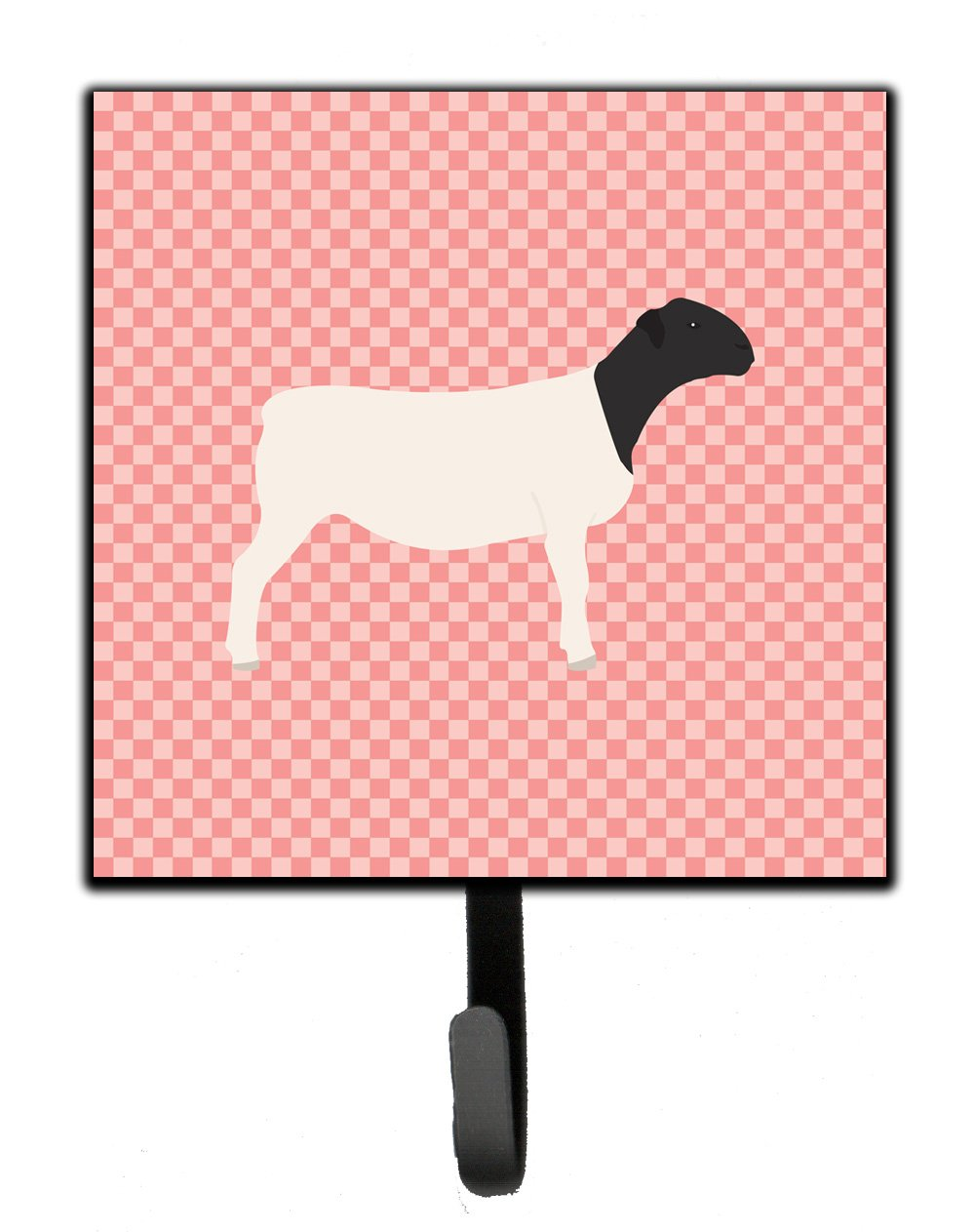 Carolines Treasures Dorper Sheep Pink Check Wall Hook Small Multicolor