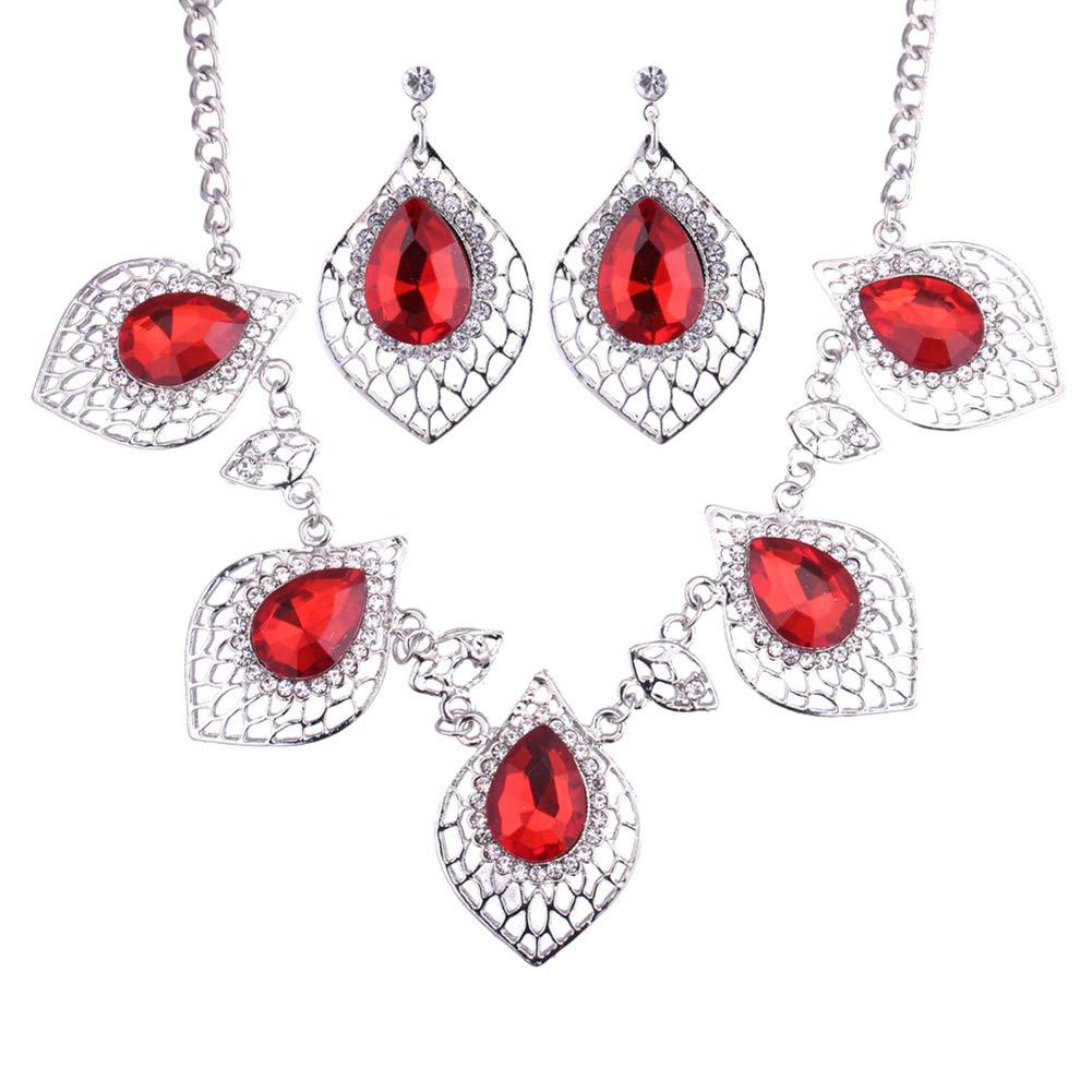 Gespout Elegant Crystal Leaf Shape Necklace Earrings Set Charms Gemstone Pendant Jewellery Set Dress Decoration for Women Girl (Colorful)