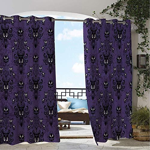 Linhomedecor Balcony Waterproof Curtains Halloween Style Grimace Pattern