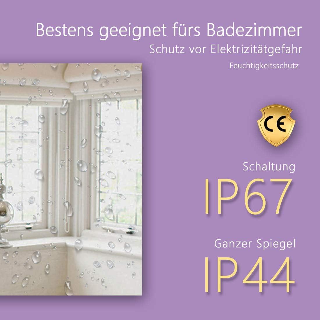 Meykoers armario de pared con m/últiples funciones 6400 K Espejo de pared para cuarto de ba/ño con iluminaci/ón LED 3000