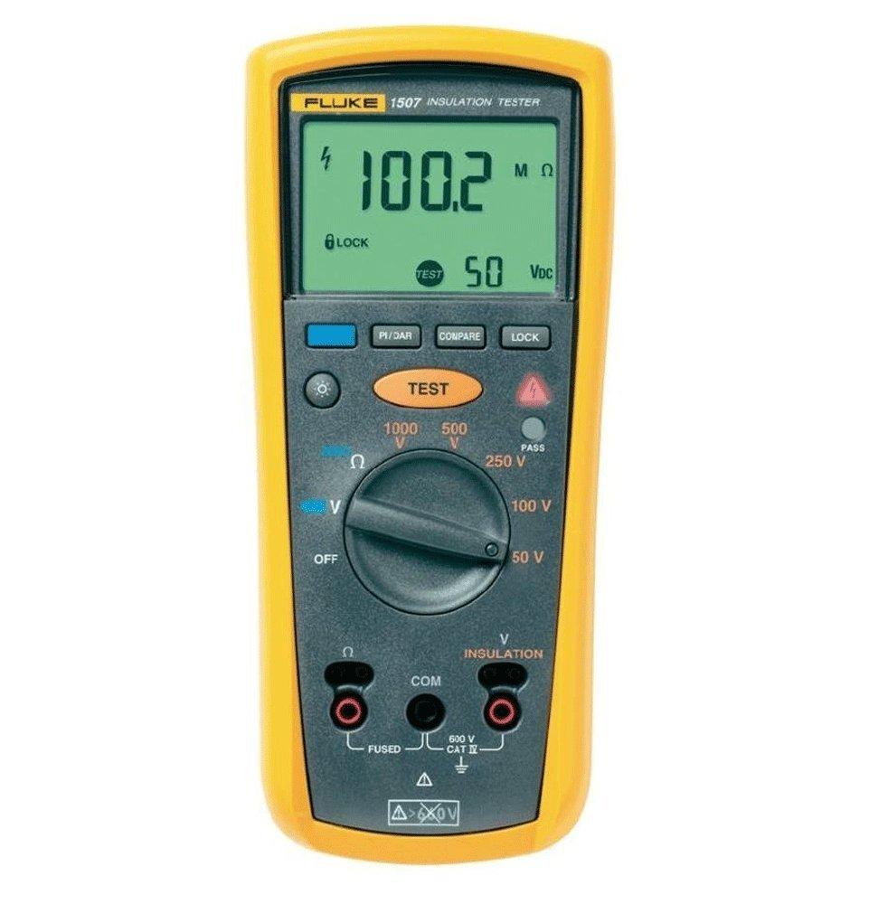 Fluke 1507 Digital Megohmmeter, 50/100/250/500/1,000V Test Voltages, with a NIST-Traceable Calibration Certificate with Data