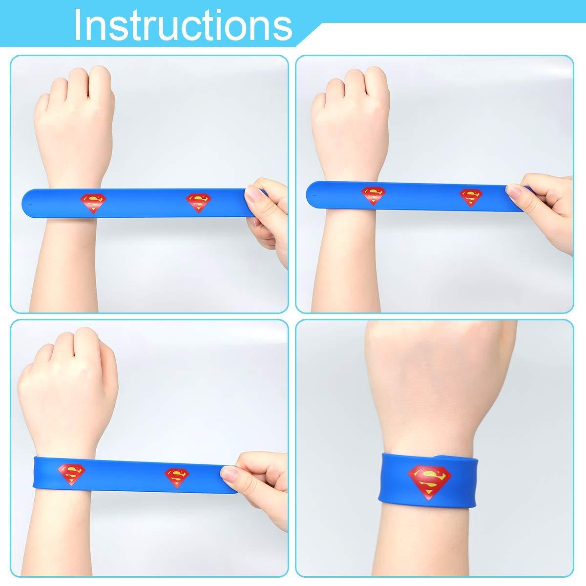 POKONBOY Superhero Slap Bracelets for Kids Party favors - 24 Pack Slap Bracelets for Boys Girls Kids Super Hero Birthday Party Favors Supplies Carnival Boys Prizes by POKONBOY (Image #5)