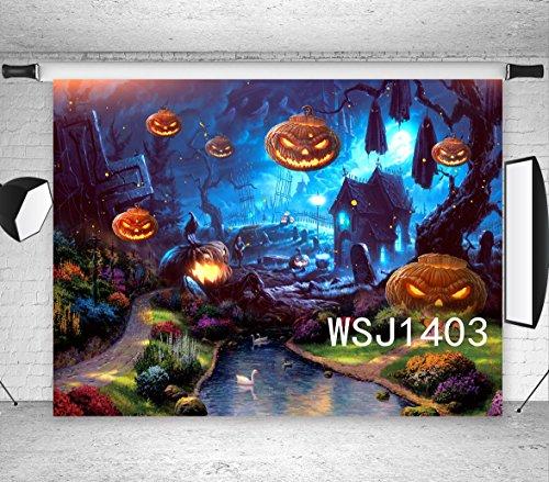 LB 7x5ft Halloween Pumpkin Photography Backdrop Grave Tomb Cross Zombie Ghost Dead Tree River Flowers Photo Background Studio Prop Customized Hallowmas -