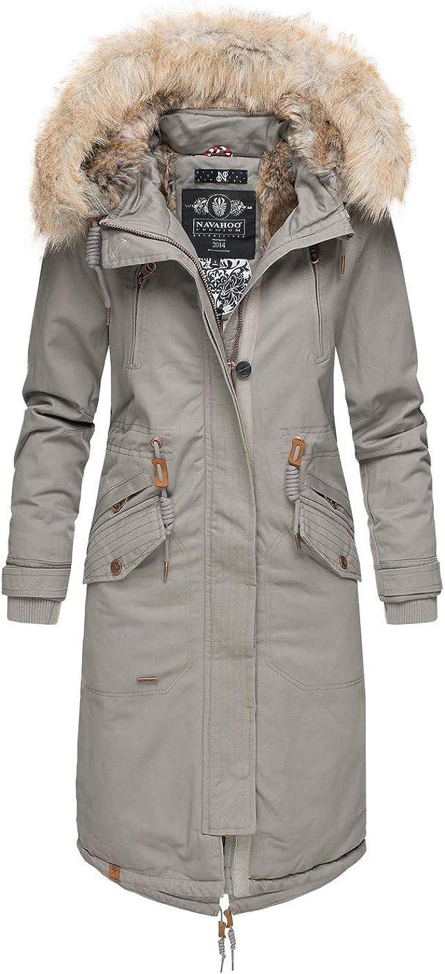 Navahoo Damen Winter Jacke Parka Mantel Winterjacke warm Kunstfell Premium B669