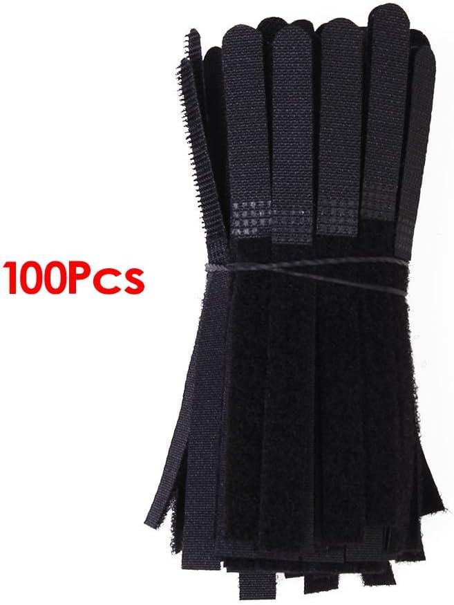 Tiras de velcro para organizar cables (100 unidades), color negro