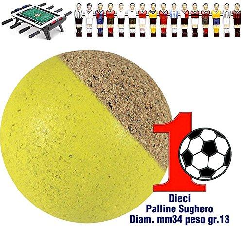 Renzline by Longoni Calcio Balilla set di 10 palline silenziose in sughero naturale giallo, diametro mm.34, peso gr. 13.