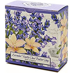 Lavender Vanilla Flowers, Luxury Round, Beautifully Scented Shea Butter Soap Bar, Made in England, Triple Milled. Environmentally Friendly (Green). 3.5oz.