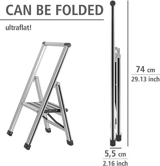 44 x 101 x 5.5 cm Aluminium 2 marches WENKO Escabeau pliant design en aluminium Argent mat