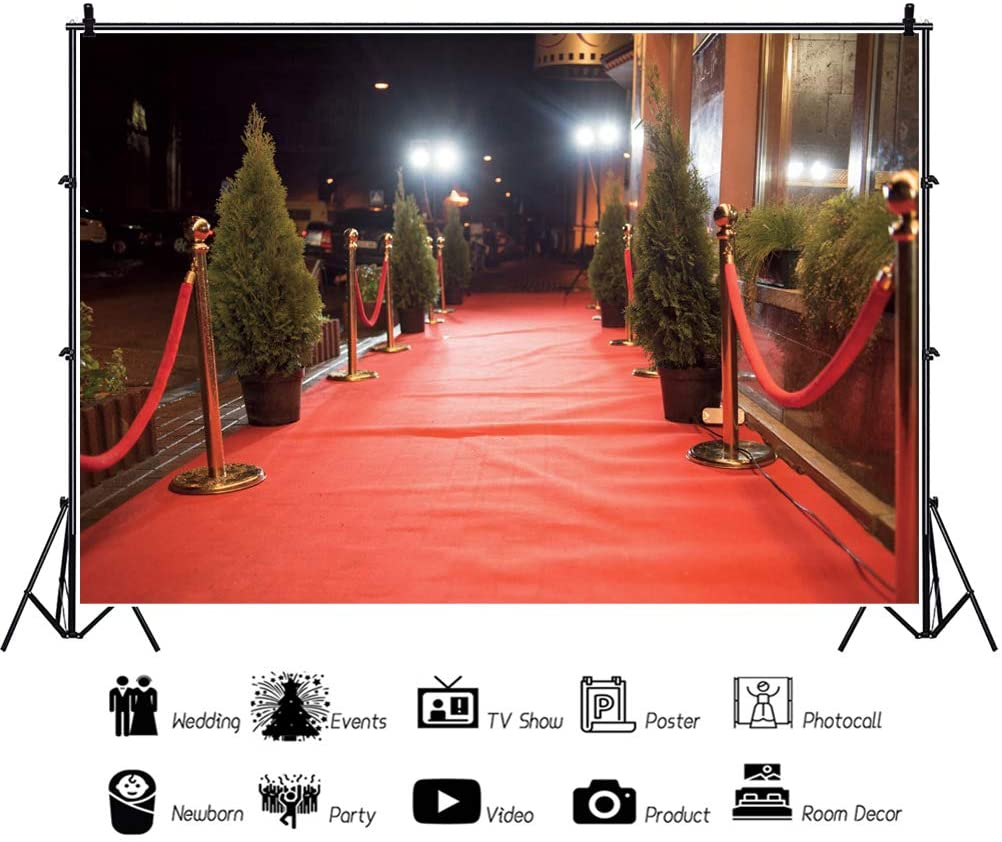 YEELE 10x8ft Red Carpet Event Backdrop Cinema Celebrity Awards Entrance Photography Background Hollywood Stars Night Party Artistic Portrait Photobooth Props Room Decoration Digital Wallpaper