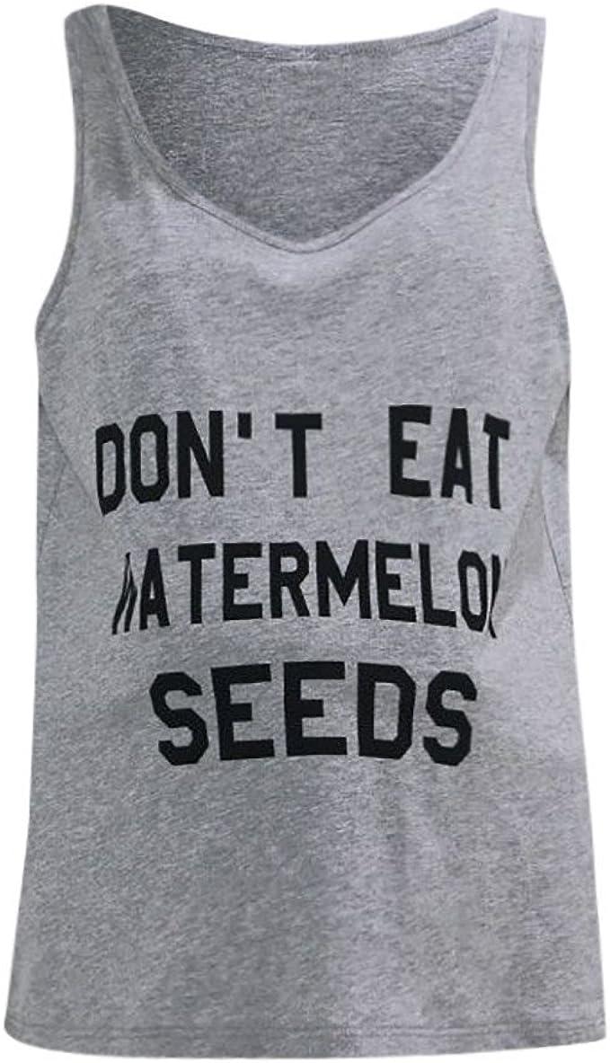 YUYOUG Femmes Dont Eat Watermelon Seeds Impression Mode Maternit/é Lettre Imprimer Grossesse Gilet sans Manches D/ébardeurs Blouse Hauts /Ét/é