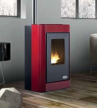 Estufa a PELLAS karmek One Oslo de 7,27 kW de aire de ventilación de acero, rojo: Amazon.es: Hogar