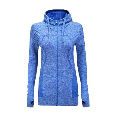 2681be35d655 Women Long Sleeve Running Top Women Full Zip Running Jacket, Yoga Top Running  Jacket with Zipper Pockets  Amazon.co.uk  Clothing