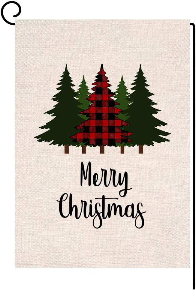 BLKWHT Red Black Buffalo Tree Small Garden Flag Vertical Double Sided Winter Burlap Yard Outdoor Decor 12.5 x 18 Inches (115301)
