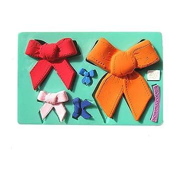 Yunko diferentes tamaño de lazos para decoración de tartas molde silicona Candy Fondant Chocolate Gum paste-5 cavidad de molde herramientas de bricolaje: ...