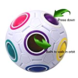 FCBB Fidget Ball,Spherical Magic Cube Rainbow Ball Cube Puzzle Brain Teasers Fidget Educational Toy (White)