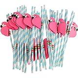 MonkeyJack Blue Novelty Flamingo Straws Hawaiian Luau Beach Party Pack of 25pcs