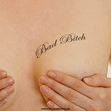 Baño Bitch - Pequeño Tattoo Texto en negro - Sexy Kinky Tattoo, negro, 10 x Bad Bitch Tattoo: Amazon.es: Hogar