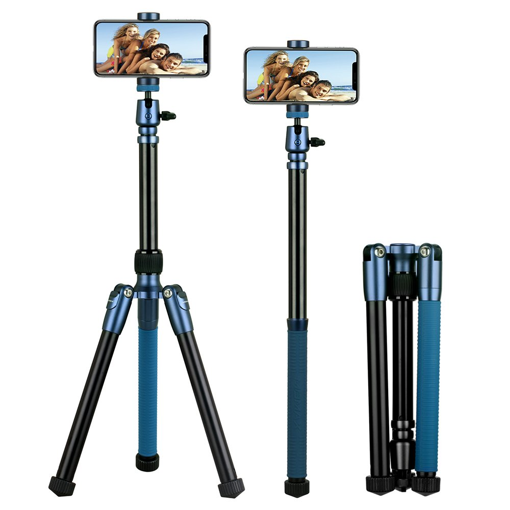 MOMAX Compatible for Camera Phone Compact Aluminum Tripod,56 Inch 1.87lbs Portable Lightweight Tripod Monopod Stand with Ball Head Phone Grip and Carry Bag for DV Canon Nikon Sony DSLR Cameras (Blue) by MOMAX