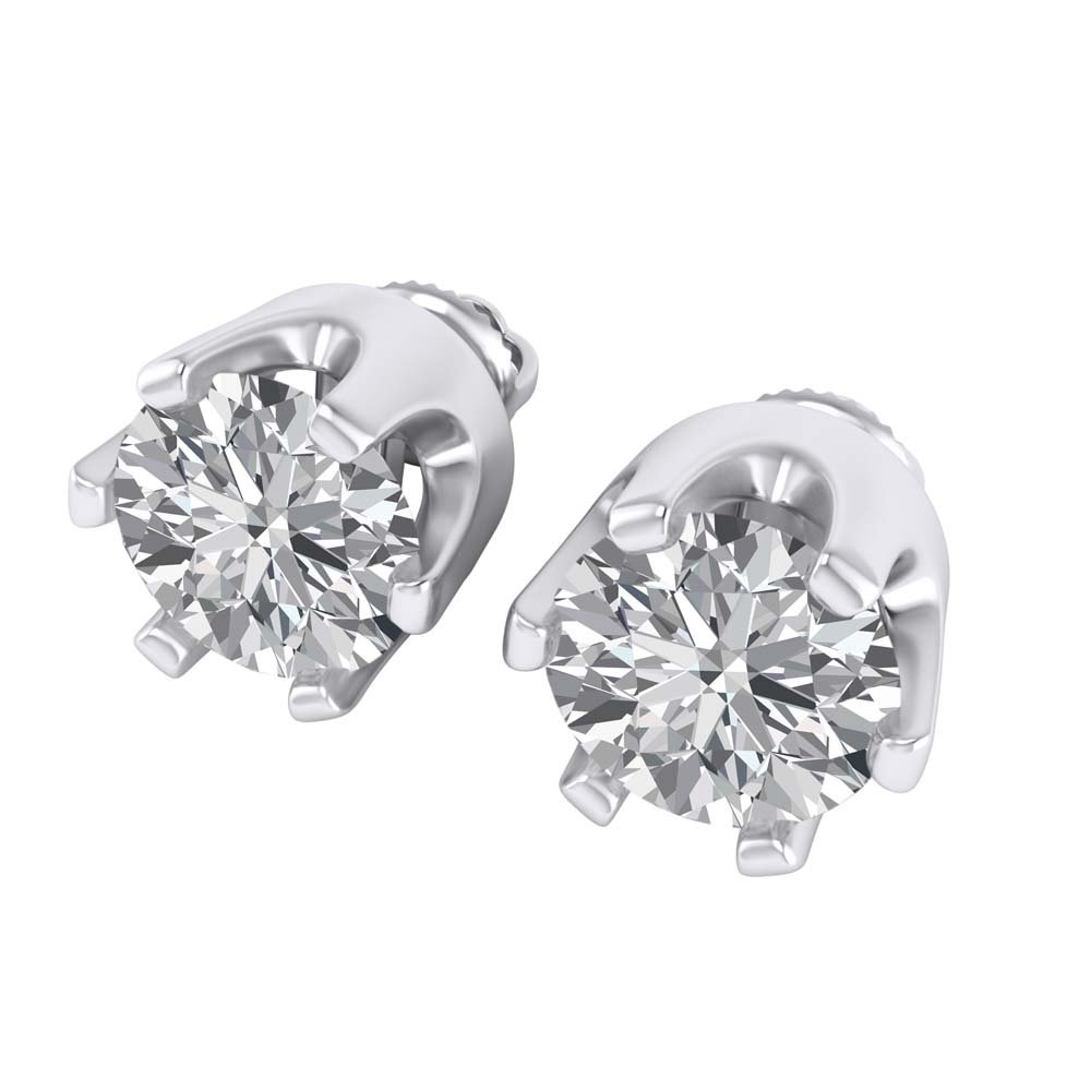 8mm White Cubic Zirconia 925 Sterling Silver Solitaire Stud Earring With Screw Back