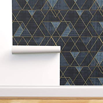 Spoonflower Peel And Stick Removable Wallpaper Navy Blue Texture Geometric Gold Mid Century Triangles Print Self Adhesive Wallpaper 24in X 36in Roll Amazon Com