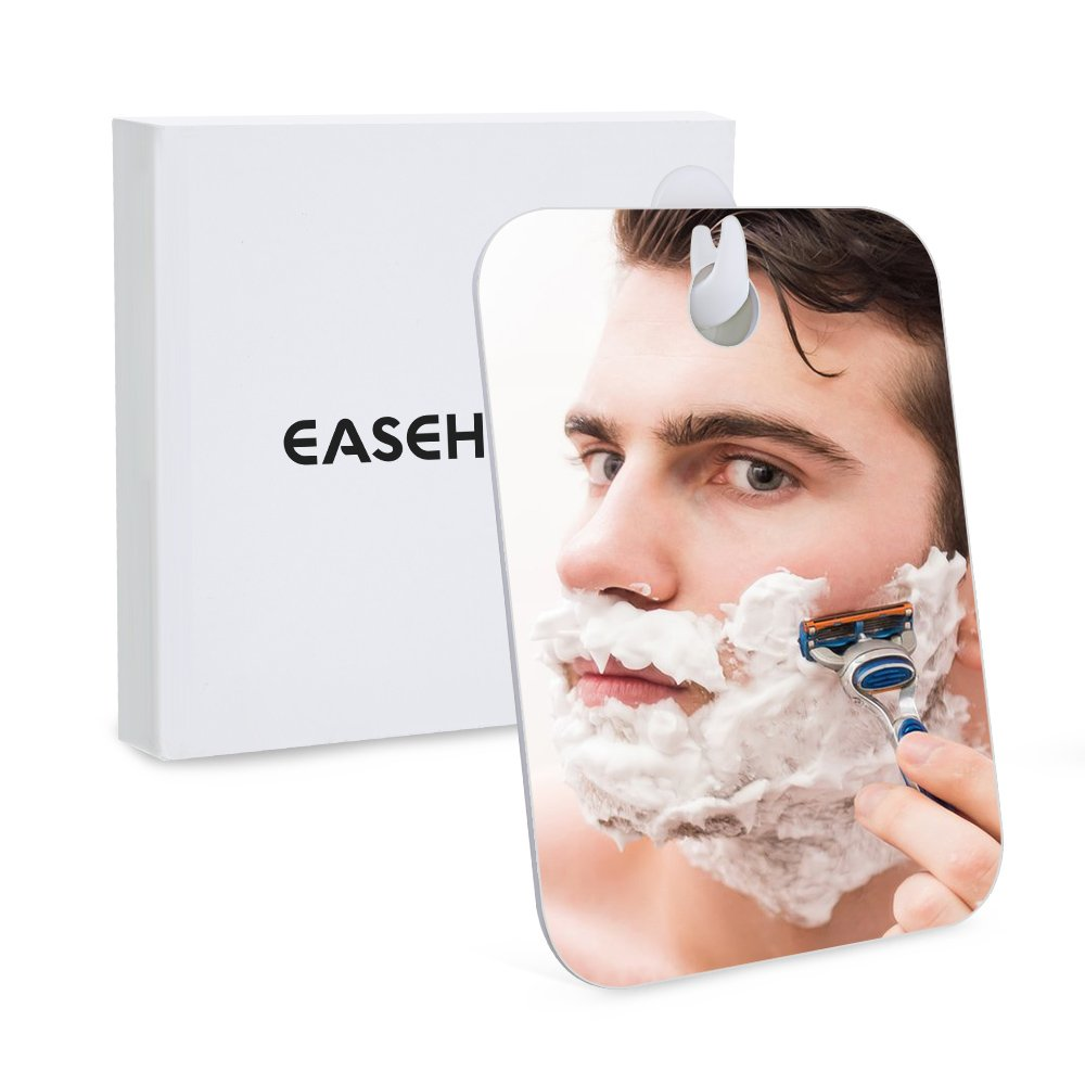 Easehold Shower Mirror for Shaving, Shatterproof Wall Hanging Bathroom Fogless Shower Mirror Portable Travel Mirror