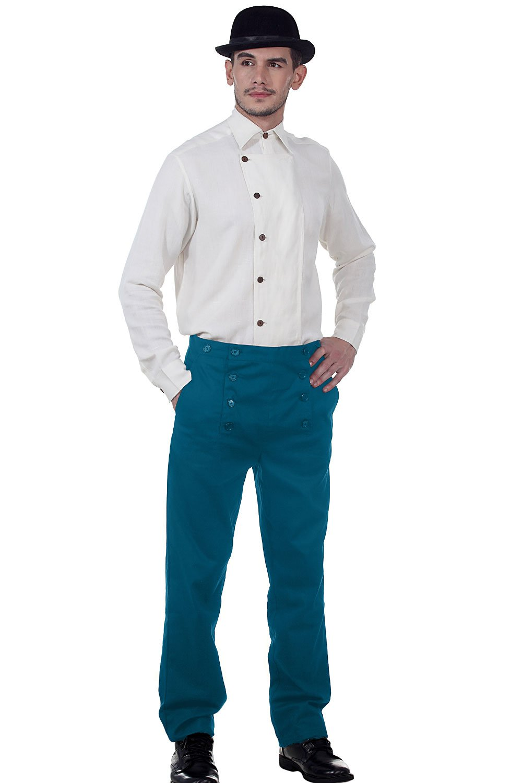ThePirateDressing Steampunk Victorian Costume Architect Men's 100% Cotton Pants Trousers [Regal Blue] (Large)