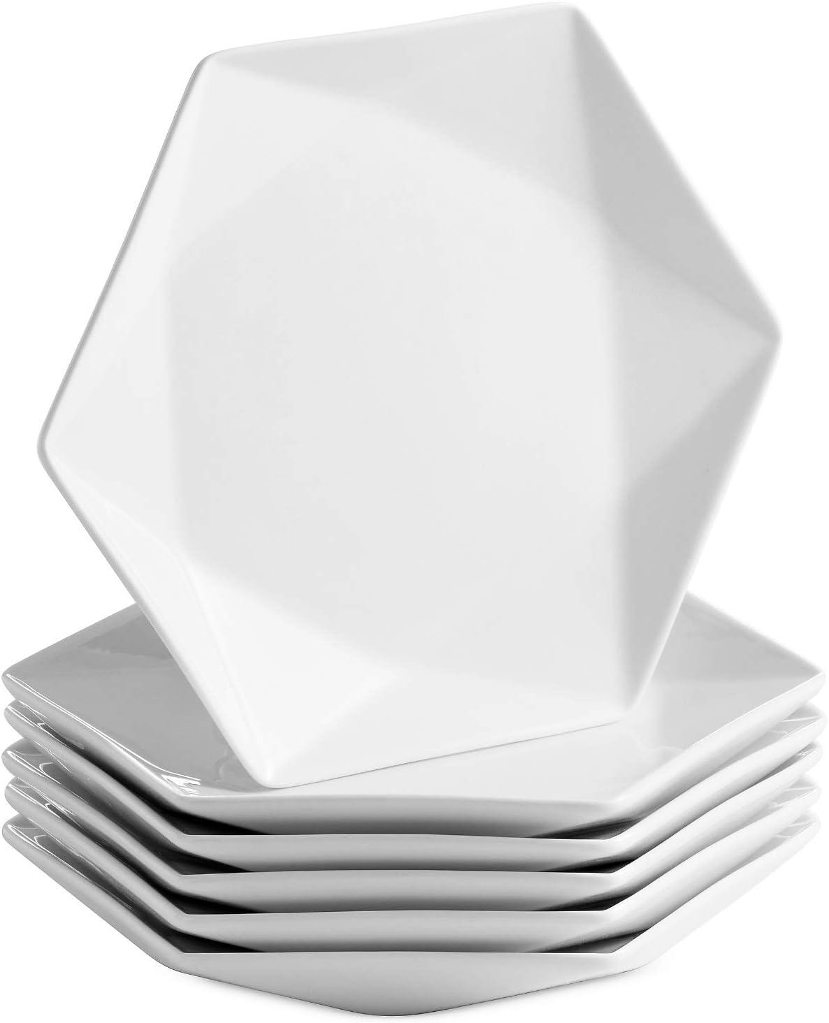 Mitbak 8 Inch Porcelain Salad Plates | Set of 6 Elegant Diamond Shaped Natural White Dinnerware Set For Dinner, Holidays, Restaurant, Salad, Cheese, Dessert | White Dishes Make An Excellent Gift Idea