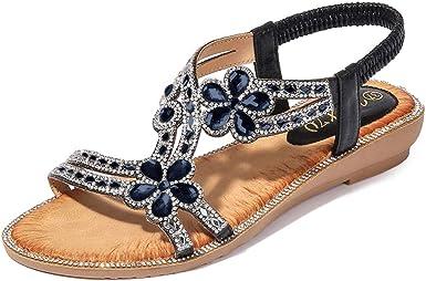 Ladies Flat Elastic Strap Bling Comfy Womens Summer Peeptoe Sandals Shoes Sizes