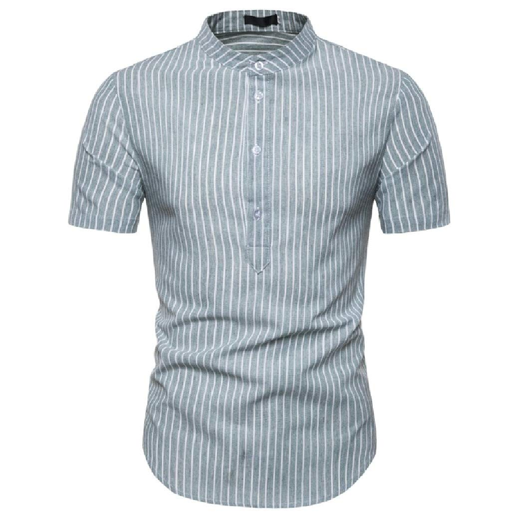 Coolred-Men Silm Fit Classic Stand up Collar Short Sleeve Stripes Printed Shirts