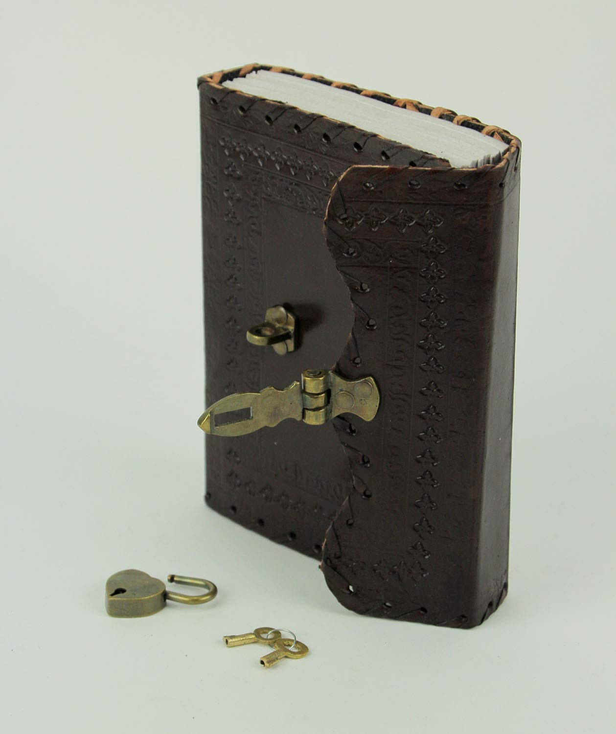 a85a23aaec1c Amazon.com  Fantasy Gifts 2807 Stitched Lock and Key Embossed Leather  Journal 5 x 7 5 x 7 inches