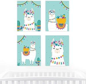 Andaz Press Llama and Cactus Party, 8.5x11-inch Unframed Wall Art, 4-Pack, Llama Alpaca Bohemian Themed Decor