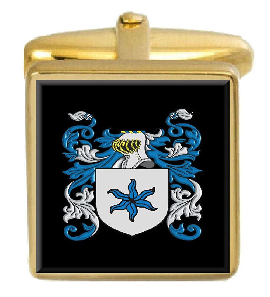 Select Gifts Few England Family Crest Surname Coat Of Arms Gold Cufflinks Engraved Box