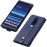 Deff(ディーフ) Xperia 1 PUレザーケース SO-03L SOV40 Made for Xperia取得 clings SLIM HAND STRAP CASE for Xperia 1 サイドセンス対応 ハンドストラップ カード入れポケット付き (ブルーバイオレット)