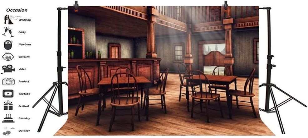 8x6.5ft Cowboy Backdrop Photography Background Classical Retro Indoor Bar Counter Wine Bottles Tables Chairs Wood Floor for Photo Studio Props