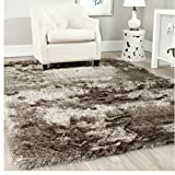 Plush Solid Shag Pattern Area Rug, Featuring Elegant French Inspired Design, Contemporary Stylish Glam Home Decor, Rectangle Indoor Living Room Dining Bedroom Hallway Carpet, Brown, Size 6' x 9'