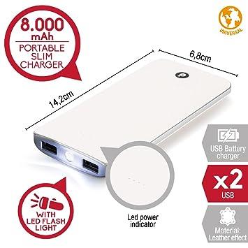 Power bank Slim de 8000mAh Azul 2 puertos de salida, Cargador Móvil Portátil Batería Power Bank con linterna led para Android, Iphone, Reproductor de ...