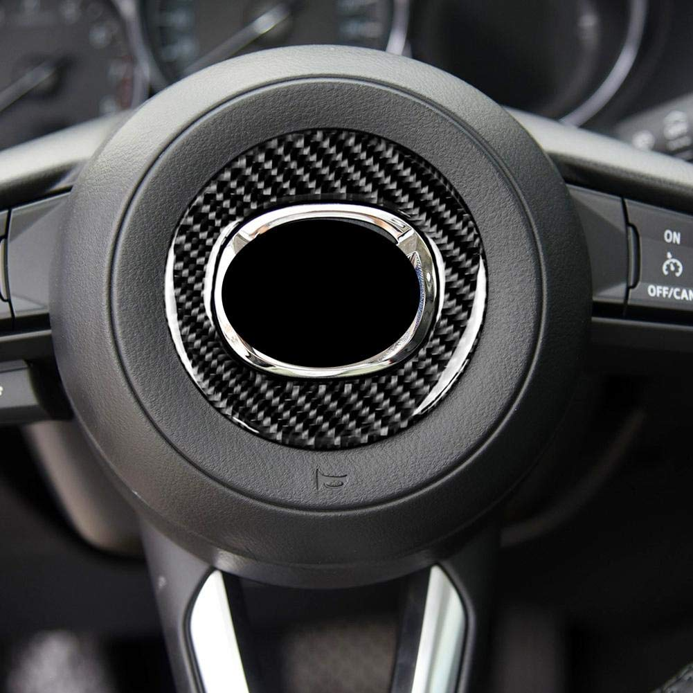 Keenso for Mazda CX-5 2017-2018 Car Accessories Carbon Fiber Car Steering Wheel Decoration Ring Stickers Decals Emblem