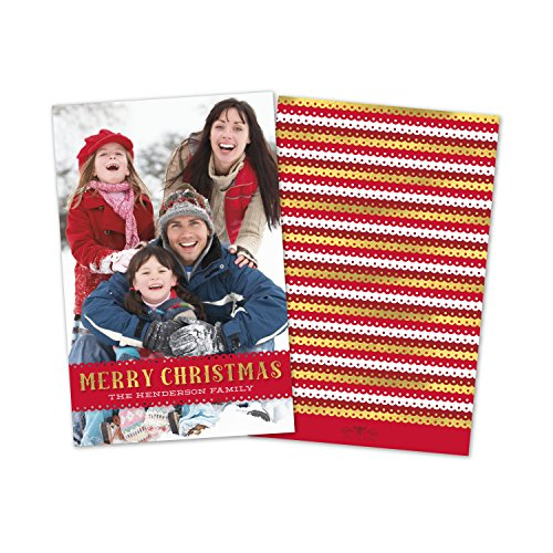 (Personalized Holiday Scalloped Band Photo Flat Card)