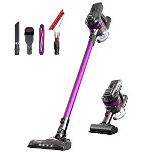 Dibea E19Pro 2 in 1 Handheld Lightweight Vacuum Cleaner Cordless 17Kpa Powerful Suction Stick Vacuum with LED Brush Rechargeable Vacuum for Floor Carpet Car Pet Hair Wall Mount, Purple