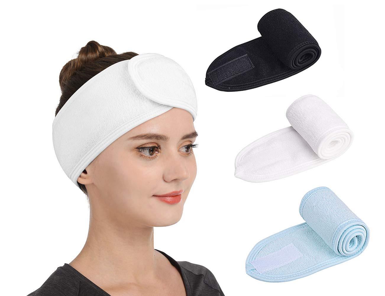 Gnafihz Facial Spa Headband – 3 Pcs Makeup Shower Bath Hair Wrap