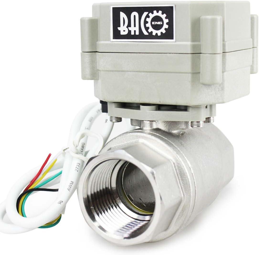 BACOENG 1 DN25 V/álvula Motorizada de Esfera de 2 V/ías de Acero Inoxidable de DC12V CR05 NC