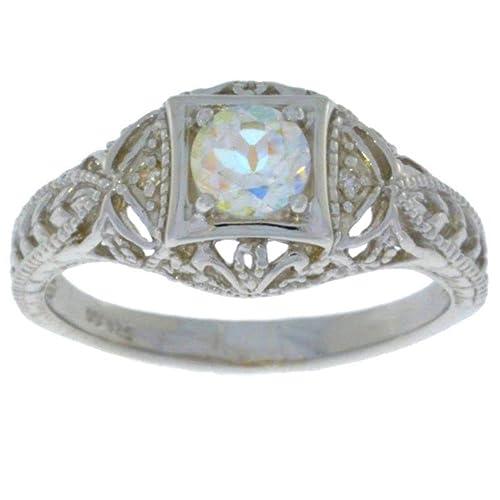 Elizabeth Jewelry Natural Mercury Mist Mystic Topaz Diamond Round Ring .925 Sterling Silver Rhodium Finish