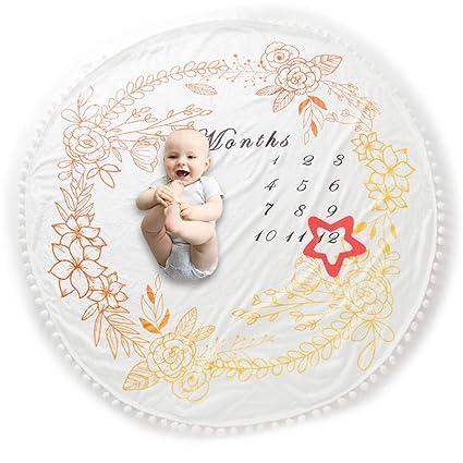 COUXILY Meilenstein Poto Decke f/ür Neugeborene oenbopo Baby Monatliche Milestone Fotografie Requisiten Shoots Hintergrund Tuch Runden D: Durchmesser 140CM