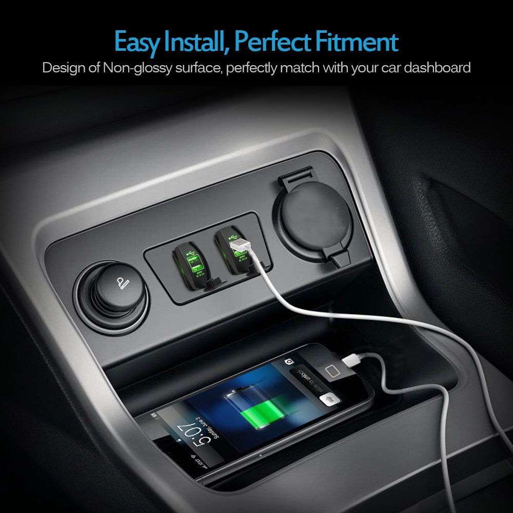 MICTUNING Dual USB Charger Socket Rocker Switch Style with Green LED Light Universal USB Devices Power Outlet for Car Boat Trucks RV